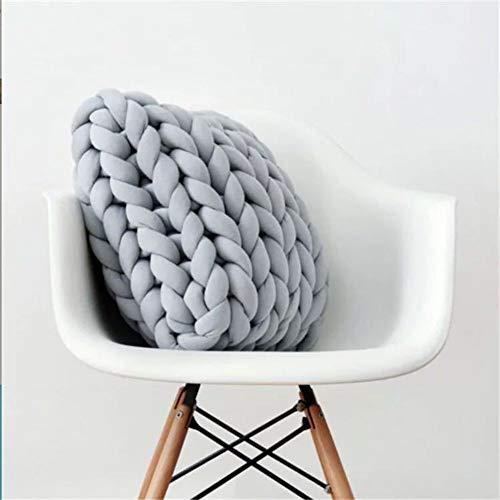 FairOnly Einfarbiges warmes dickes Strickkissen für Zuhause, Sofa-Dekoration, 40 x 40 cm, grau, 40 x 40 cm