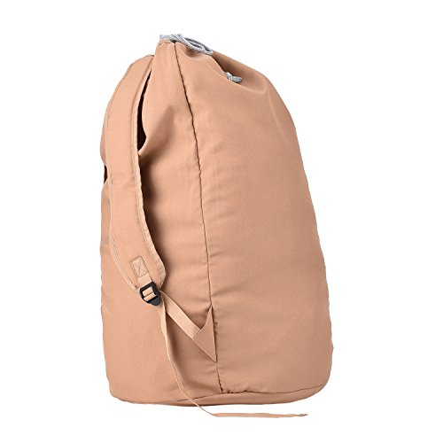Nuggi Laundry Backpack Wash Laundry Washing Bag for Dorm-Room Laundry Bag Brown Polyester Canvas