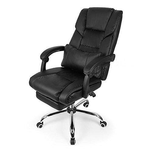 Sedia da Ufficio Poltrona Sedia Girevole Direzionale, Sedia Girevole ergonomica reclinabile con Schienale Alto, Cuoio di PU, Sedia del Gioco(Nero)