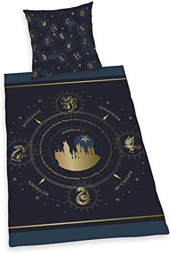 Potter Bettwäsche glatt Harry Hogwarts Griffindor Logo Kompass 135 x 200 cm NEU Wow - All-In-One-Outlet-24 -