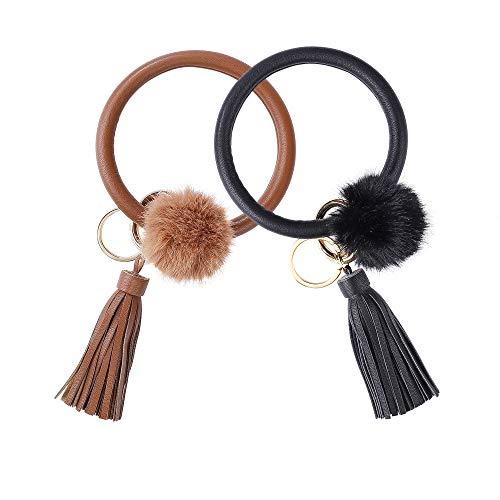 Armband Schlüsselbund Armreif Schlüsselring Quaste Armband Schlüsselhalter für Frauen Teen Mädchen 2 Stück Schwarz & Braun