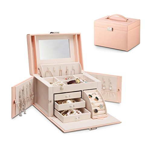 Vlando Jewelry Box, Faux Leather Medium Jewelry Organizer, Vintage Gift for Women -Pink-Cross Pattern