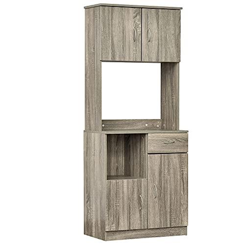 Armoire de cuisine multi-rangements 3 placards 2 niches tiroir panneaux particules classe E1 aspect chêne gris