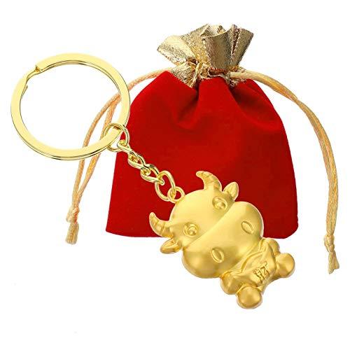 JGONas Llavero de vaca, buey, llavero para monedas, colgante, bolso de mano, colgante encantador, duradero, atractivo diseño de zodiaco de ternero, para familias, dorado