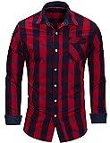 Chemise Homme à Carreaux Coton Manches Longues Slim Fit Basic Causal Business Loisirs, Rouge, 2XL