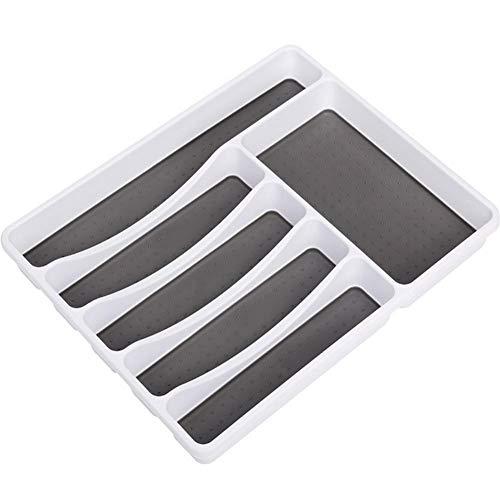 Odoukey 6-Compartimiento Placa vajilla Bolsa de Almacenamiento de Cocina cajón vajilla Cuchara Tenedor de Rack Rack de Almacenamiento de plástico para la Cuchara Tenedor Oficina Cocina