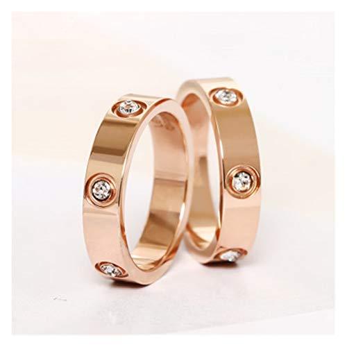 XYBH Ring Doorbell KK050 - Anillo de acero inoxidable para hombre, color oro rosa, regalo de boda, anillo (color de metal: 6 mm, plata, tamaño del anillo: 9)