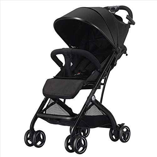 WONOOS Lightweight Stroller, Compact Travel Buggy, One Hand Foldable, Five-Point Harness, Great for Airplane,Black