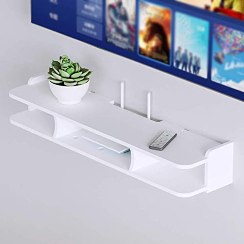 JHSHENGSHI Long Floating Shelf for TV Components, Wall-Mounted Media Console Shelf is Used Living Room and Bedroom, White