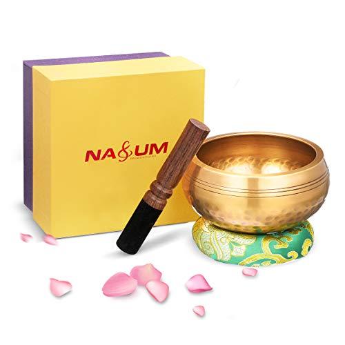 Klangschale NASUM tibetische Klangschalen Set mit Klöppel und Kissen. für Meditation Entspannung, Stress und Angst Relief, Schulen Therapien. Singing Bowl - 11cm
