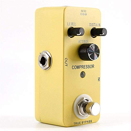 Guitar Effect Pedal Guitar Effect Processor Guitar Effect Pedal Metal Case Compressor Pedal Mini Compressor Guitar Effect Pedal With Adapter Guitar Tuning Accessories (Color : Yellow, Size : Free Size