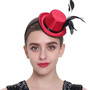 BABEYOND Mini Top Hat Fascinator Headband for Women Vintage Feather Fascinator Top Hat for Derby Cocktail Tea Party Fancy Accessory  Wine Red