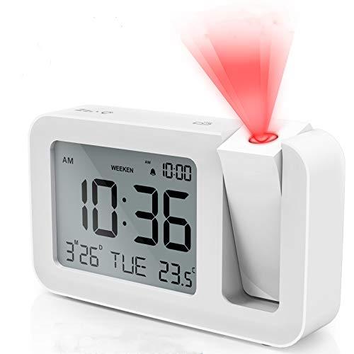 TedGem Sveglia Digitale, Sveglia con Proiettore Sveglia Digitale da Comodin, 3,8  LCD Number Clock 4 Luminosità, 9 Min Snooze, 2 Suoni Allarme, per Camera da Letto, Ufficio, Cucina (Bianco)