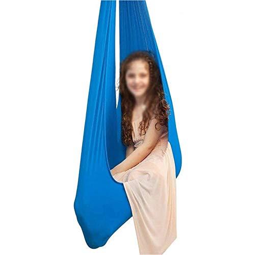 ZHL Hamacas de yoga para interiores con columpio sensorial para niños, niños o adultos, ideales para autismo con hiperactividad y SPD (color: azul, tamaño: 150 x 280 cm)