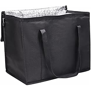 OOSAKU Insulated Food Delivery Grocery Cooler Bags, Thermal Collapsible Reusable Shopping Tote for Hot and Cold Food (Black,L)