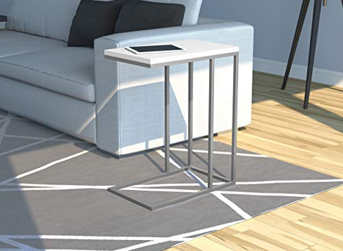 Safdie & Co. Accent End Table, C Shape, White
