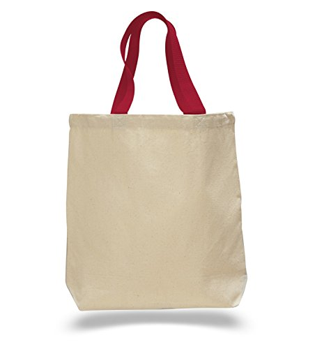 (Set of 12) 12 Pack- Wholesale Cotton Canvas Gusset and Contrasting Handles Tote Bag (Red)