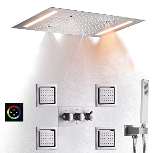 DULABRAHE Luxury Rainfall Shower System Set Ceil Mounted 14 X 20 Inch Rectangular Atomizing Rain Shower Head Faucet With LED Control Touch Panel Spa Bath Shower Body Combo Jets Brushed Nickel