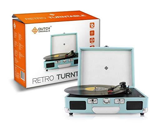 DUTCH ORIGINALS Retro Draaitafel, met geïntegreerde luidsprekers, Vintage Vinyl speler voor grammofoonplaten en audioapparatuur, Blauw, AUX, 2 versterkers