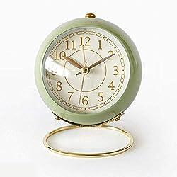 Small Table Clocks Vintage Decorative Desk Clocks Non-Ticking Tabletop Alarm Clock for Bedroom/Living Room/Kitchen/Office/Classroom (Green)