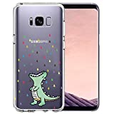 Unov Case Compatible with Galaxy S8 Clear with Design Soft TPU Shock Absorption Slim Embossed Pattern Protective Back Cover (Rainbow Dinosaur)
