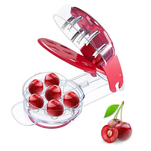 Leadrise Cherry Pitter Remover Tool Cherry Stoner Seed Extractor Remover - 6 Cherries Red