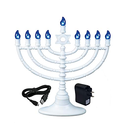 Rite Lite White Plastic Electric LED Low Voltage Chanukah Menorah with Blue Bulbs - Hanukkah Menorah Battery or USB Powered - Includes a Micro USB 4' and Wall Plug Cable