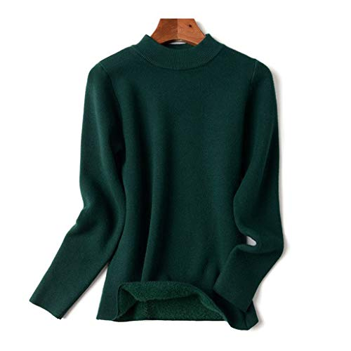 DYXYH Suéter básico Grueso cálido y Esponjoso para Mujer, suéter de Punto de Manga Larga con Cuello Redondo, suéteres de Navidad para Otoño Invierno (Color : Green, Size : L-length-57CM)