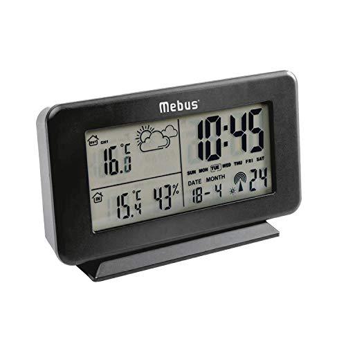 Mebus Funk-Wetterstation, 4 x 13 x 8 cm, kabellos, schwarz