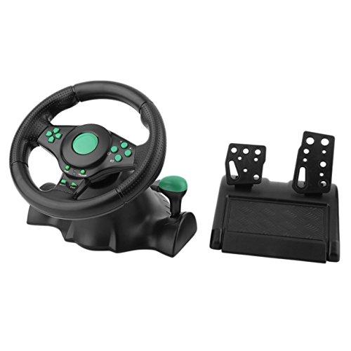 Volante de carreras BIYI de 180 grados para juegos de vibración con pedales para Xbox 360 para PS2 para PS3 PC USB Volante para automóvil (negro y verde)