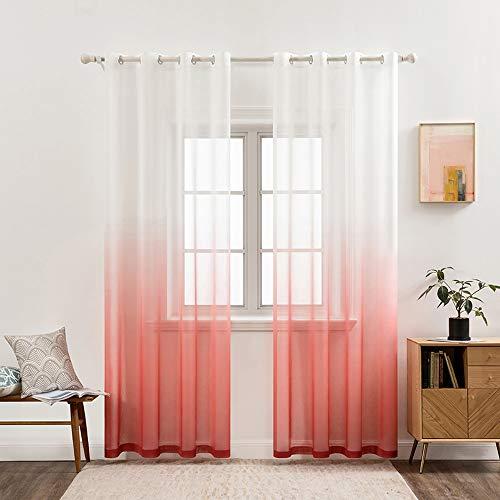 MIULEE Sheer Vorhang Voile Farbverlauf Dekoschal Vorhänge mit Ösen transparent Gardine 2 Stücke Ösenvorhang Gaze paarig Fensterschal für Wohnzimmer 225 cm x 140 cm(H x B) 2er-Set Rot