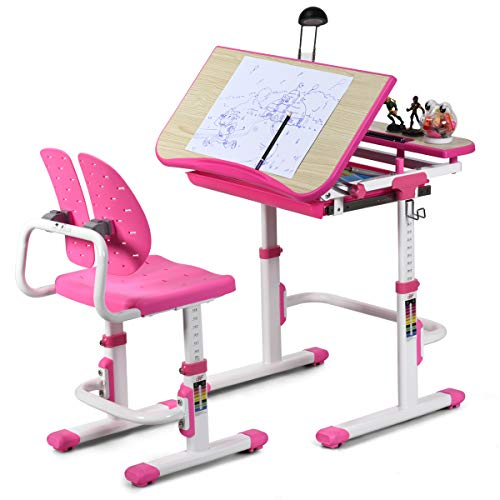 Baby Joy Kids Desk and Chair Set, Height Adjustable, Children Study Table with Tilted Desktop, Pull Out Spacious Storage Drawer, Student Writing Desk for Studying, Reading and Drawing (Pink)