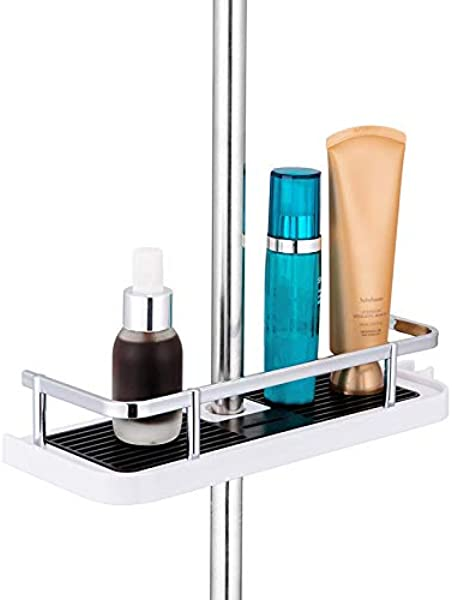 ZhiXu Bathroom Shower Shelf Hanging Shower Rack No Drilling Needed Shower Pole Shelf With Buckle And Shower Head Hook For 19mm 25mm Shower Pole