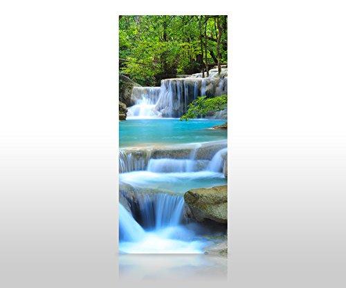 wandmotiv24 Duschrückwand Wasserfall im Wald 90 x 200cm (B x H) - Aluminium 3mm Duschwand Design, Keine Fugen M0485