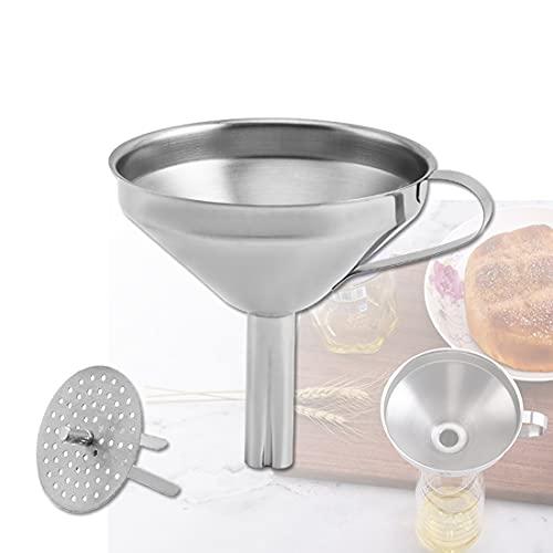 YUNNUO Embudo de cocina de acero inoxidable con colador extraíble para filtración de cocina y colador