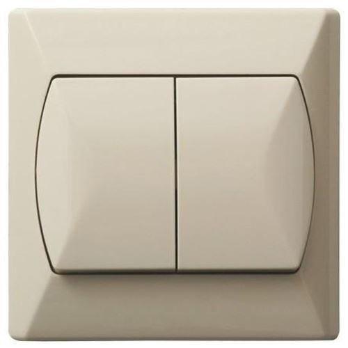 Dubbele knop, groot, interne schakelaar, Basic Haga Clic, wandplaat, beige