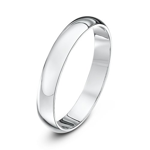 Theia Unisex 18 ct White Gold, Super Heavy D Shape, Polished, 3 mm Wedding Ring, Size R