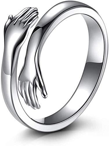 Anillo de abrazo de plata de ley 925 para mujer, anillos de plata con manos abiertas, anillo de promesa para hombres, anillos de pareja, alianzas de boda