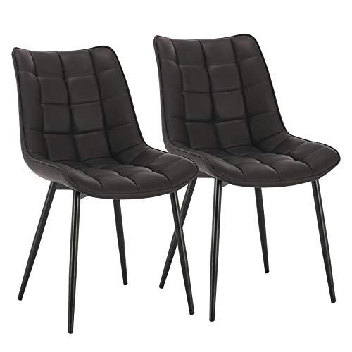 WOLTU Esszimmerstühle BH207an-2 2er Set Küchenstuhl Polsterstuhl Wohnzimmerstuhl Sessel mit Rückenlehne, Sitzfläche aus Kunstleder, Metallbeine, Antiklederoptik, Anthrazit
