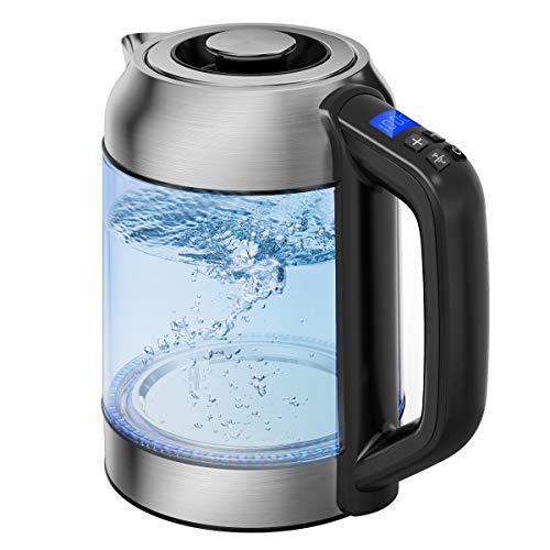 Morpilot Glas Wasserkocher Edelstahl 1,7 L Wasserkocher mit Temperatureinstellung 40-100 Grad, LED Farbwechsel Glaswasserkocher Warmhaltefunktion, BPA Frei, Transparent 2200W