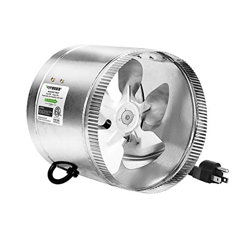 VIVOSUN 8 inch Inline Fan Duct Fan 420 CFM, HVAC Exhaust Intake Fan, Low Noise & Extra Long 5.5' Grounded Power Cord