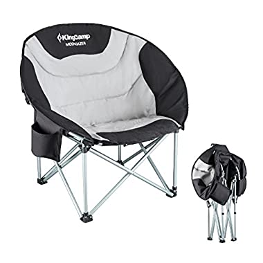 KingCamp Moon Saucer Leisure Heavy Duty Steel Camping Chair Padded Seat with Cooler Bag (Grey with Cup Holder)