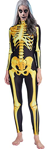RAISEVERN Mono de Halloween para mujer Estampado 3D Zombie Digital Esqueleto Body Slim Fit Traje de calavera amarilla dorada Medias únicas Traje de piel Catsuit Mono para fiesta de noche de vacaciones