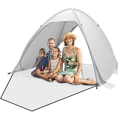 Qomolo Carpa de Playa para 3-4 Personas, Pop Up Carpa para Acampar con Bolsas de Arena Prueba Vient, Tienda de Sombra Portátil con Protección UV, para Playa, Cámping, Picnic (Gris)