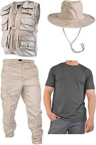 normani Safari Dschungel Kostüm Safarianzug mit Weste, Hose Shirt und Buschhut Größe XL