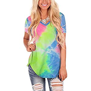 Women's Tie Dye V Neck Short Sleeve Casual Summer T-Shirt Tee Top