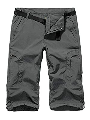 Jessie Kidden Women's Stretch Hiking Shorts, Outdoor Quick Dry Elastic Waist Casual Capri Cargo Pants for Safari Camping Travel (2030 Grey 34