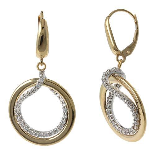 Gioiello Italiano - Pendientes de aro doble en oro de 14 quilates y circonita cúbica, dos colores, 3,8x2,0cm, para mujer