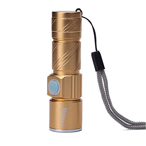 Ecloud Shop® Mini LED Torche Lampe de poche USB Rechargeable Light Focus réglable Zoomable lampe à LED pour camping Randonnée cycliste, économie d'énergie