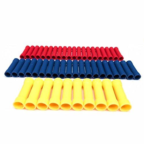 50tlg Quetschverbinder Sortiment, Stossverbinder Isoliert Kabelschuhe Wire Terminals Crimp Connectors Kabelverbinder Schrumpfschlauch (20 x Rot, 20 x Blau, 10 x Gelb)